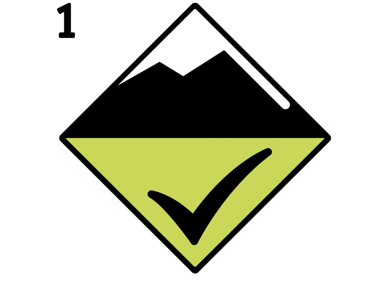 Icon Avalanche Danger Level Dry Snow 1, low | EAWS European Avalanche Warning Services