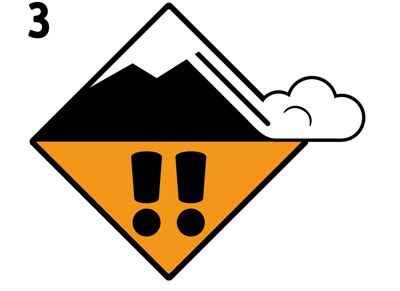 Icon Avalanche Danger Level Dry Snow 3, considerable | EAWS European Avalanche Warning Services