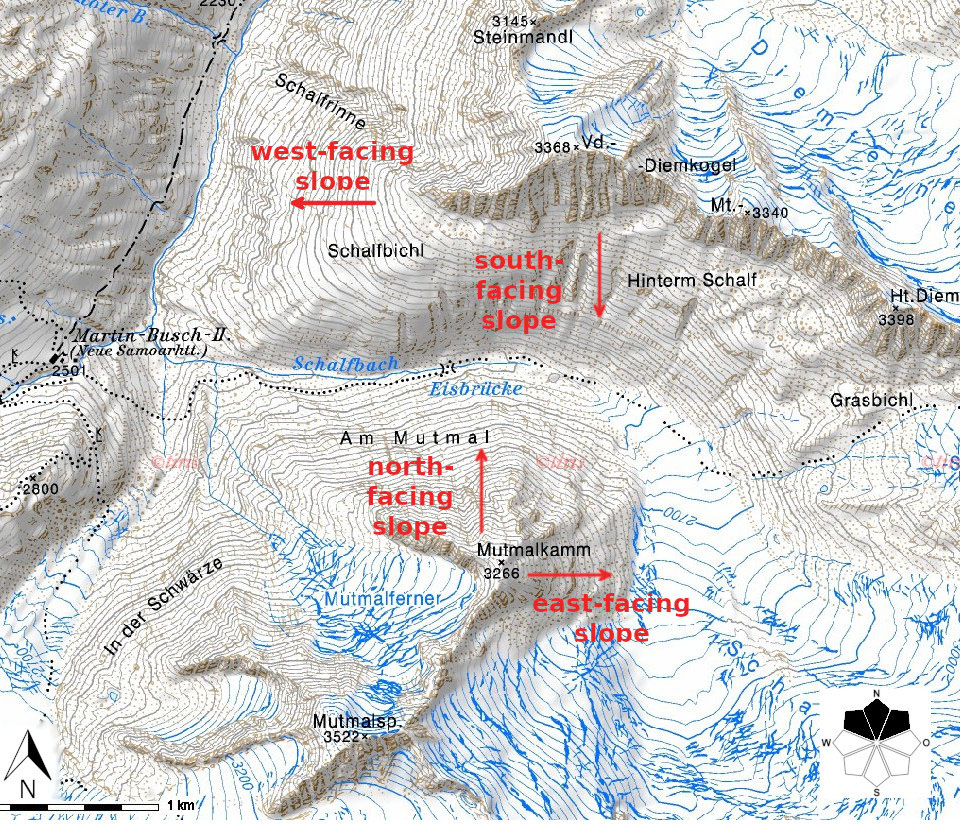Glossary Aspect © Tiris Maps | EAWS European Avalanche Warning Services
