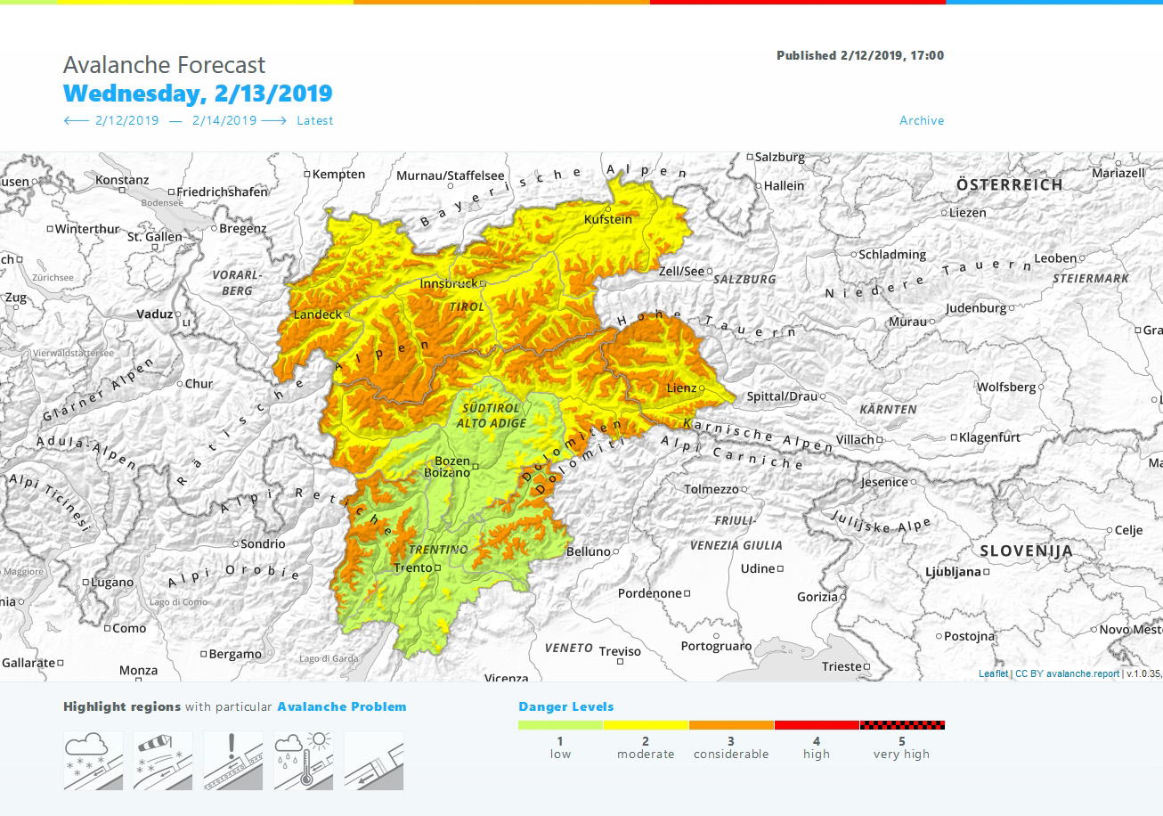 Glossary Avalanche Bulletin, avalanche.report screenshot © LWD Tirol | EAWS European Avalanche Warning Services