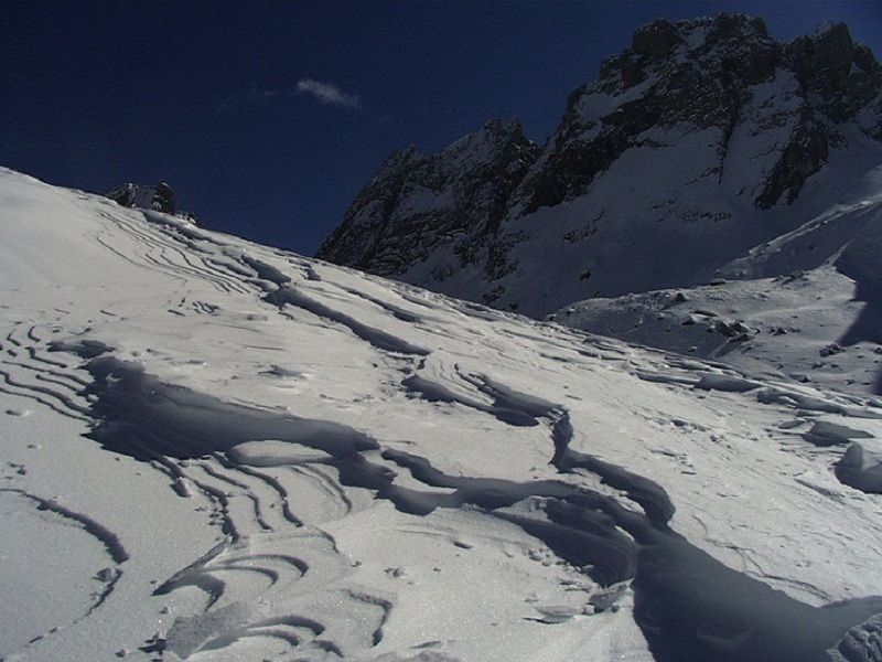 Glossary Ripples, erosional ridges: pass area with mountains in the background © LWD Tirol | EAWS European Avalanche Warning Services