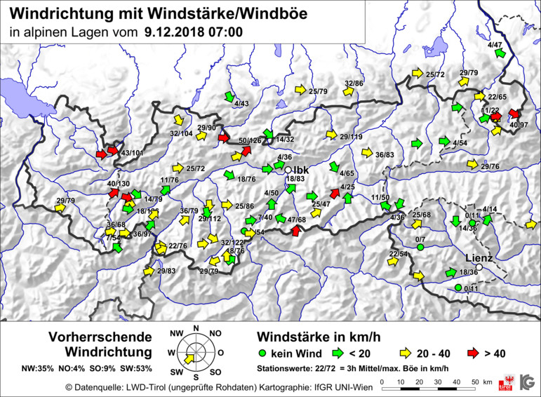 Glossary Wind Speed, map © LWD Tirol | EAWS European Avalanche Warning Services