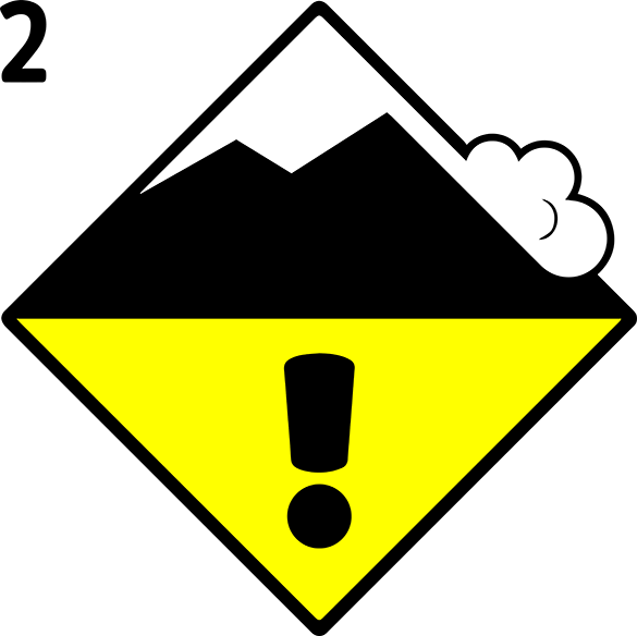Icon Avalanche Danger Level Dry Snow 2, moderate | EAWS European Avalanche Warning Services